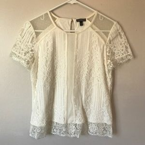 Express Ivory Floral Lace Blouse--Size Small